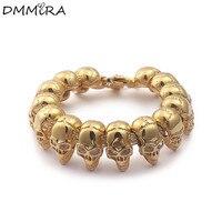 Fashion Punk Arrogance Skeleton Chain Bracelet Gold Stainless Steel Many Retro Skull Crystal Bracelets Jewelry For Men Gift