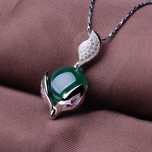 925 prata incrustada de pedras naturais semi-preciosas ágata verde pingente raposa dos desenhos animados design mestre clássico namorada presente