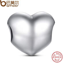 New Spring Collection 925 Sterling Silver Big Smooth Heart Charm Fit BME Bracelet Necklace Heart Bead PAS002