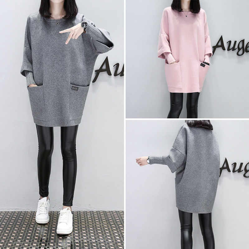 4XL Maternity clothes Winter Splicing Long sleeve loose Hoodies for pregnant woman Solid Outwear pregnant top Long Outfits