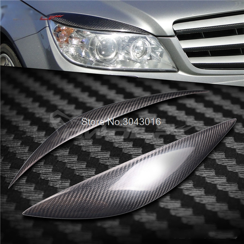 High Quality Real Carbon Fiber decoration Headlights Eyebrows Eyelids cover for Mercedes-benz C class C180\200\260 C300 W204 C63 w204 c180 c200 c260 c300 carbon fiber car rear trunk lip spoiler wing for mercedes benz w204 c63 4 door 2008 2013 amg style