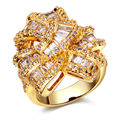 Luxury Women Romantic CZ Rings Top Quality Gold Rhodium Plated Pave Setting AAA Cubic Zirconia Lead Free Dressed Party Ring