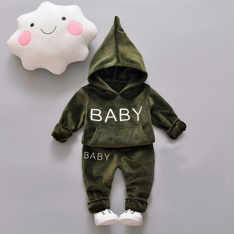 Baby Girl Boys Clothing Set For Kids Casual Letter Hooded Velvet Autumn Spring Children's Sports Suits Clothes 1 2 3 4 Years