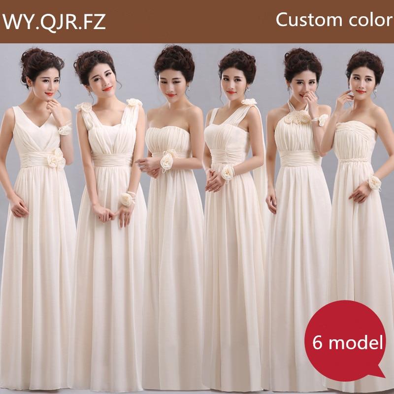 QNZL70X#V-neck Lace Up Chiffon Purple Champagne pink blue Bridesmaid Dresses Long wholesale Custom wedding party dress Flower