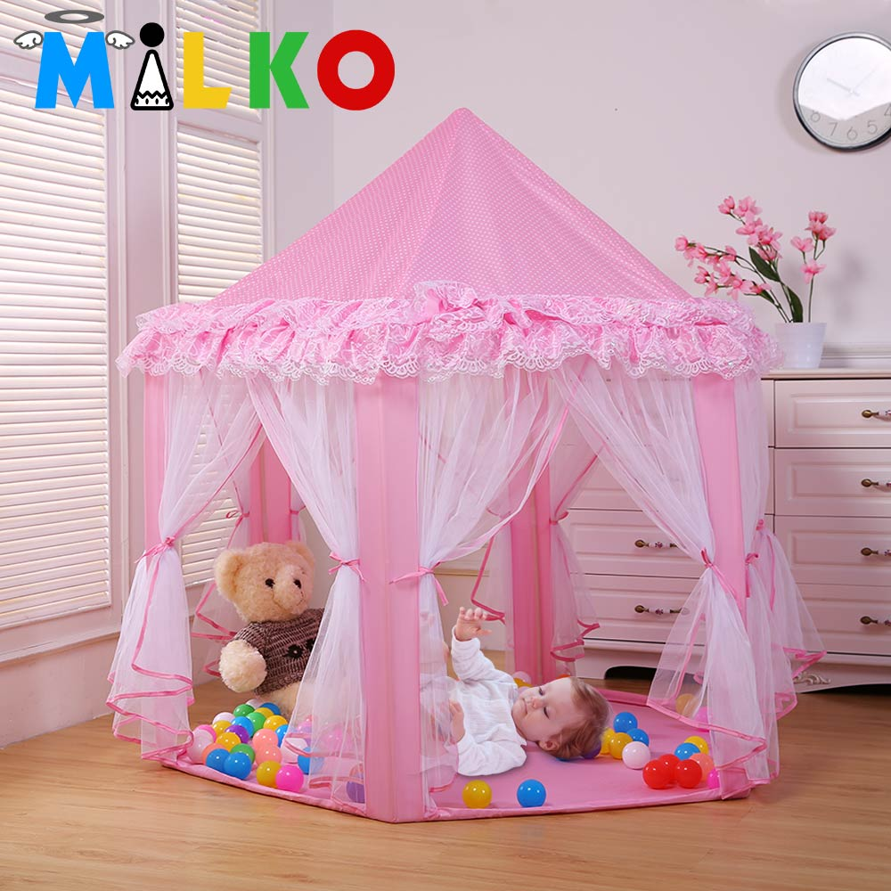 Kids Princess Lace Teepee Castle Baby Play Game House
