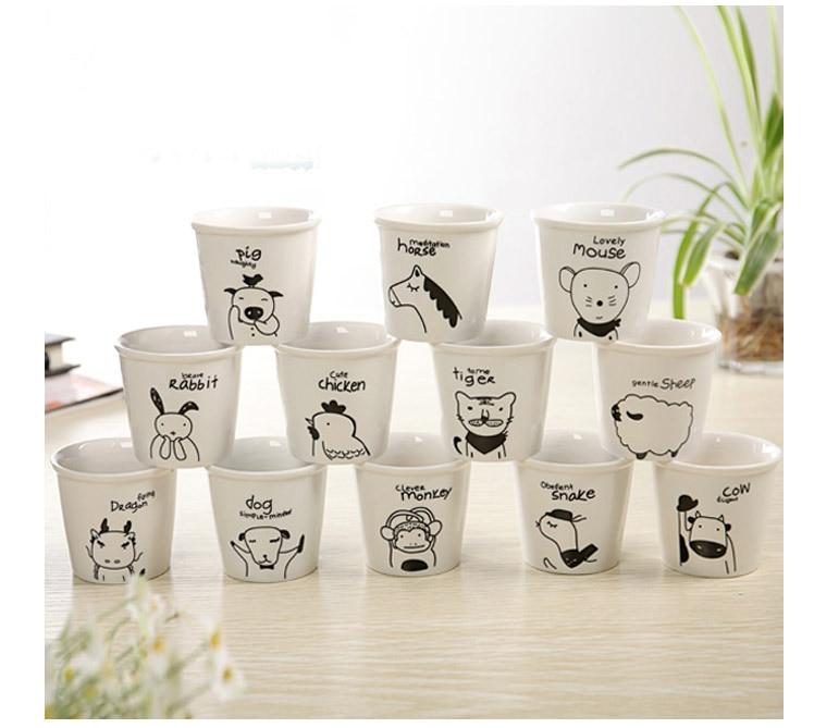 1PC New Pattern Creative Chinese Zodiac MINI Ceramic Mug Cartoon Milk Coffee  JL 073