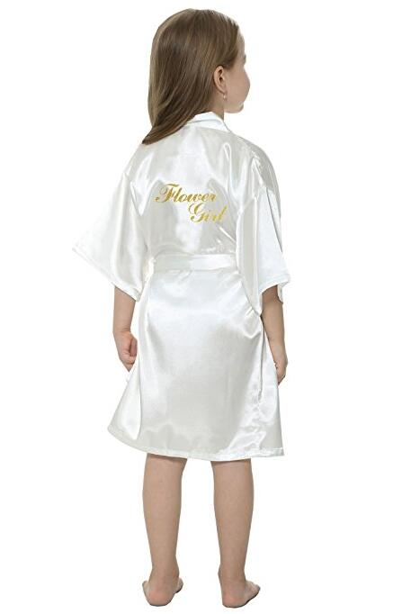 New Solid Girls Stain Silk Robes Flower Girl Kimono Robes Wedding Brief Bathrobes Pajamas Kids Robe+belt Nightdress Hot Sale