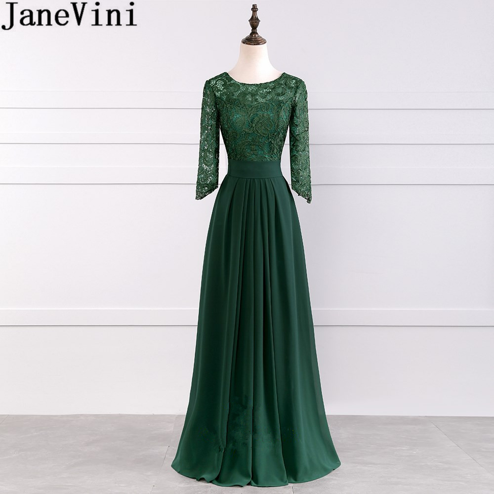 JaneVini Dark Green Chiffon   Bridesmaids     Dresses   Long Sleeve Lace Bodice Prom   Dresses   2019 Zipper Back Party Wedding Guest   Dress