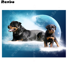 5d Diamond Embroidery Rottweiler Dog 3d Earth landscape Cross Stitch Mosaic Painting Rhinestones Home Accessories B123