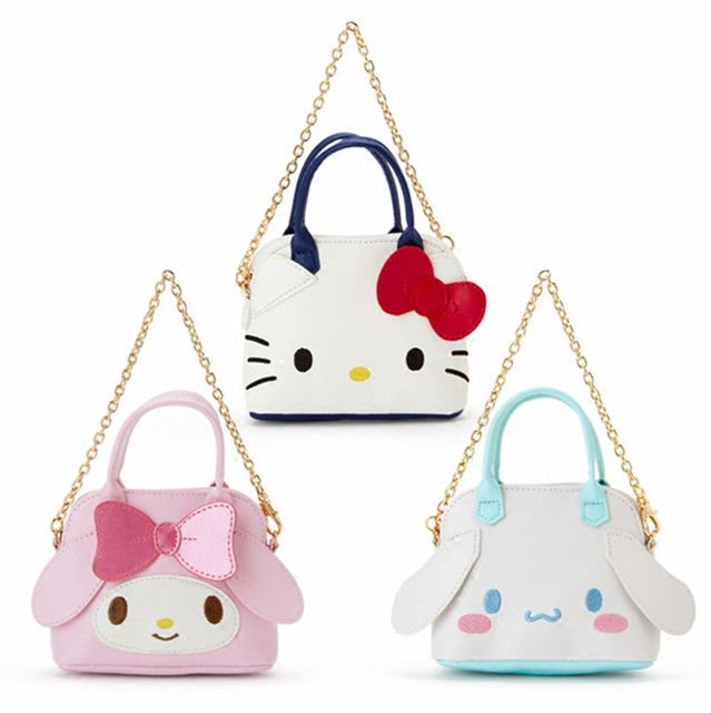 985216c1cbd7 Cute Hello Kitty My Melody Cinnamoroll Kuromi PU Leather Coin Purse Wallet  Girls Mini Tote Bag Handbag Small Sling Chain Bag