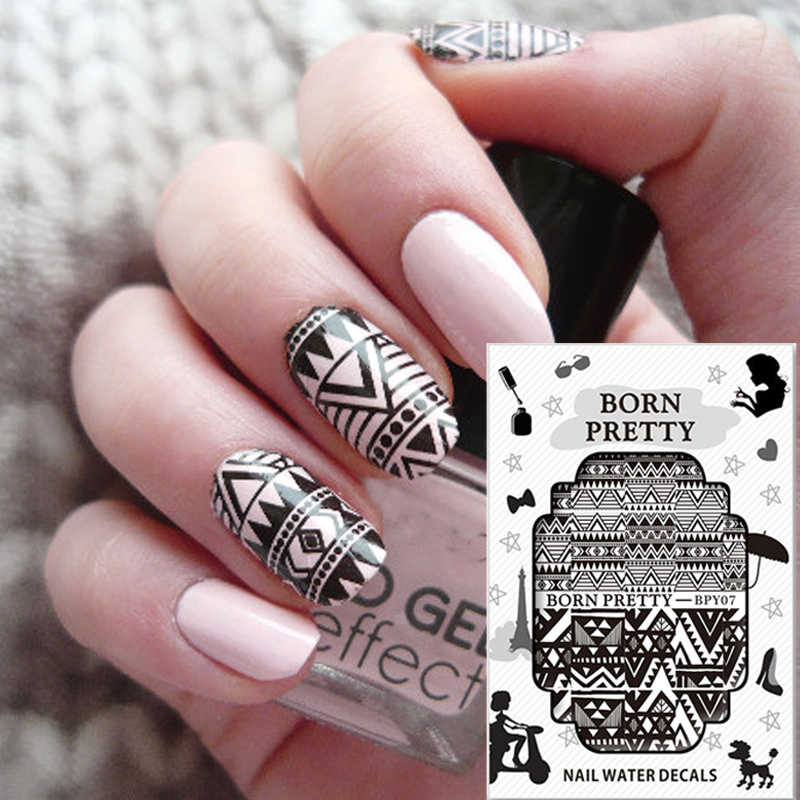 BORN PRETTY Wave Line Triangle Theme Nail Stickers Nail Art Water Decals Transfer Sticker 2 Patterns/Sheet  BPY07 top nail 20 rolls of laser gold silver glitter striping tape line nail art tips decals beauty transfer foil stickers for nails