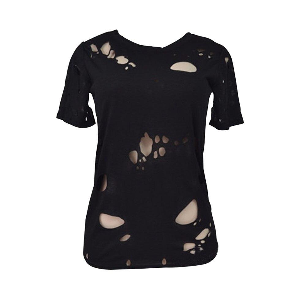 Black t shirt womens - 2017 Summer Holes T Shirt Women Fashion Sexy Black White Cotton Short Sleeve Ripped Tops Shirts Casual Loose T Shirt In T Shirts From Women S Clothing