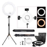 Fosoto fotografische beleuchtung 3200-5800K 100W Led Ring Licht Bi-farbe Ring Lampe Stativ Spiegel für Telefon Kamera foto Video
