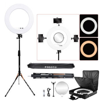 fosoto photographic lighting 3200-5800K 100W Led Ring Light Bi-color Ring Lamp Tripod Stand Mirror For Phone Camera photo Video
