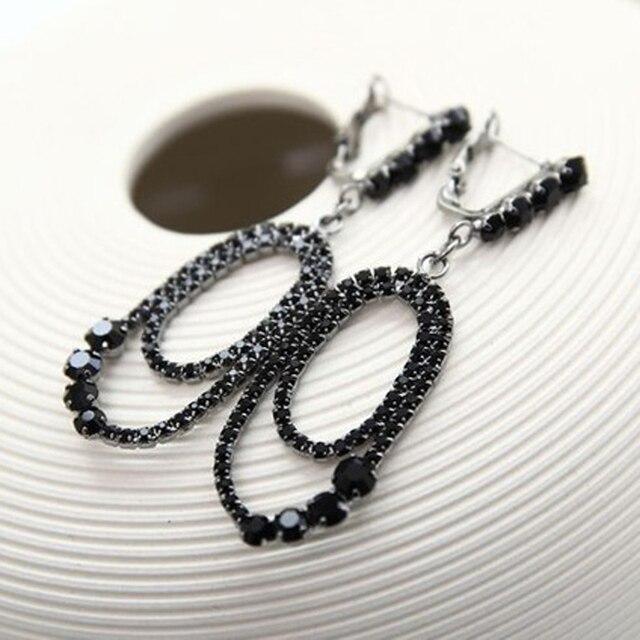 Yfjewe 2018 новые модные черные Соблазнительные эллиптических горный хрусталь серьги для Для женщин Оптовая Прямая доставка # E135