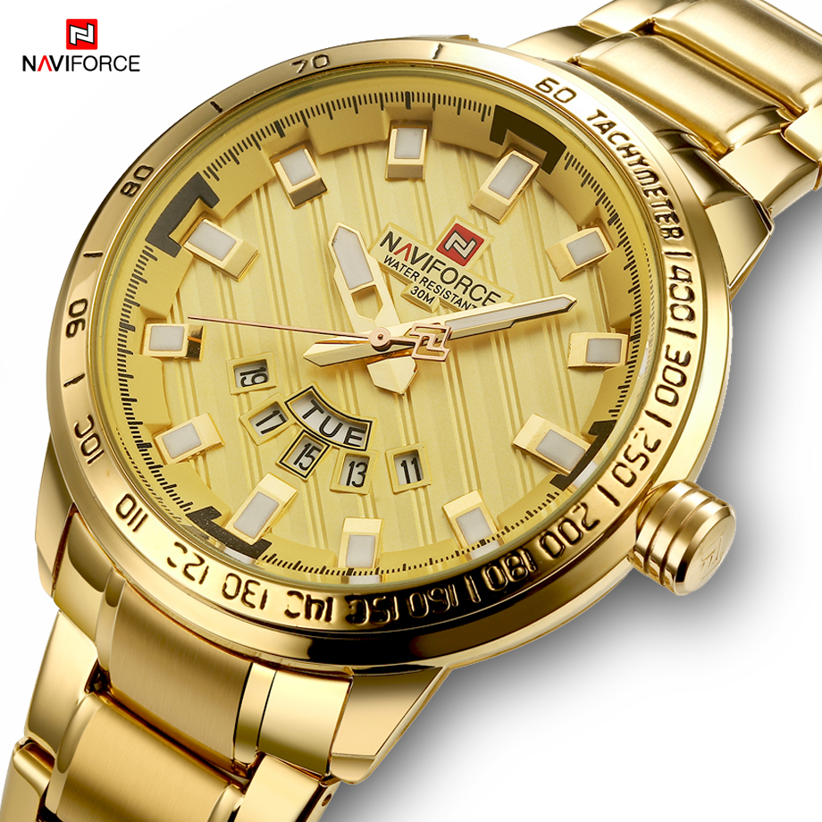 New Fashion Mens Watches Gold Full Steel Male Wristwatches Sport Waterproof Quartz Watch Men Military Hour Man Relogio Masculino
