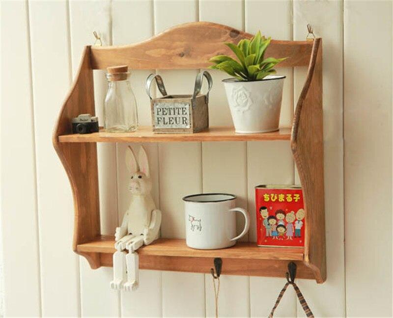 16 inch Solid Wood Storage Cabinet Craft Keys Hook Sundries Rack Wall Racks  Bathroom Shelves Large