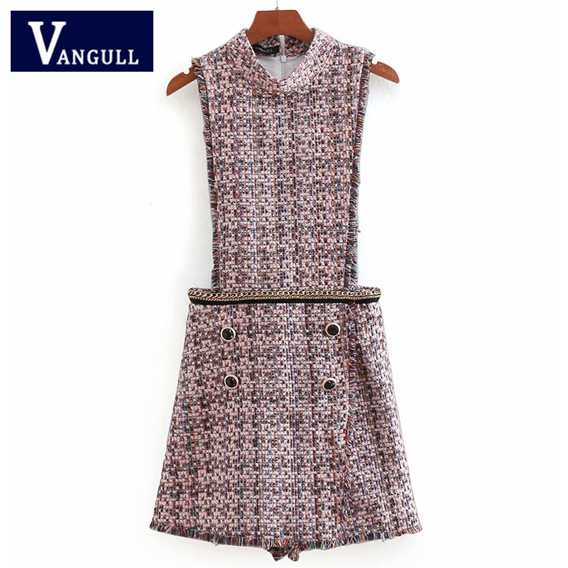 European and American sexy Women's Clothing Metal chain printed twill buttoned Playsuits cotton Linen sleeveless short Playsuits