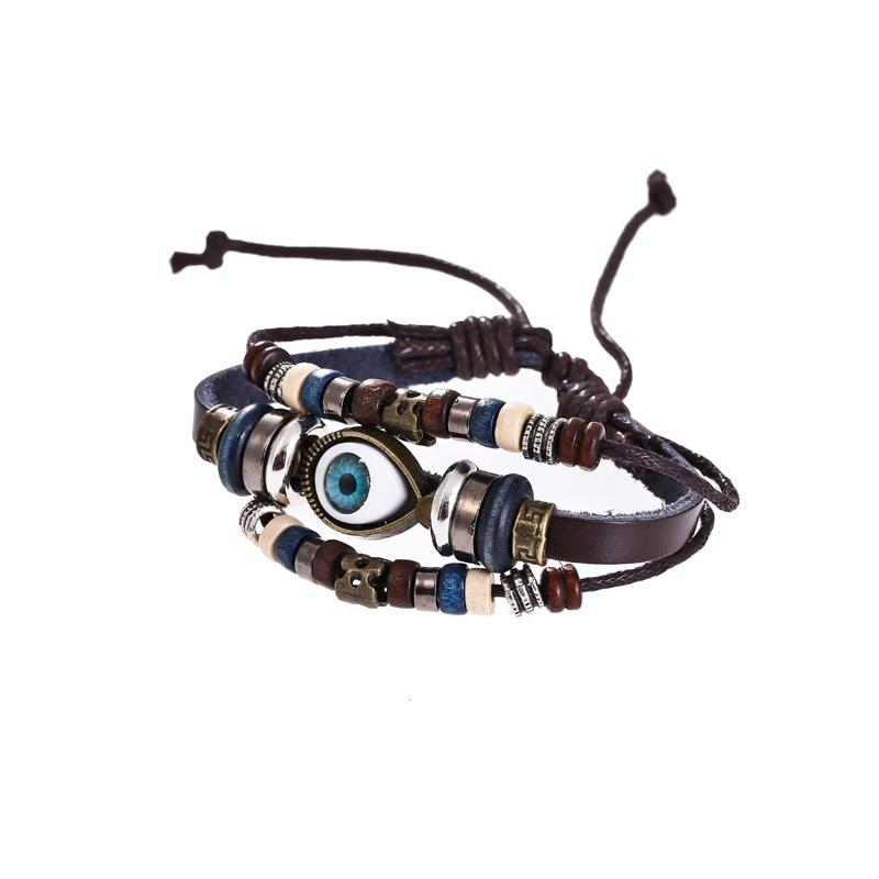 Punk Design Turkish Eye Bracelets For Men Woman New Fashion Wristband Female Owl Leather Bracelet Stone Vintage Jewelry все цены