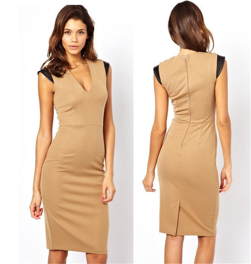 V neck sleeveless summer dress khakis