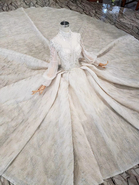 HTL315 robes de mariée de luxe de haute qualité à la main perle cristal robe de mariée pour fille col haut à manches longues sukienka elegancka