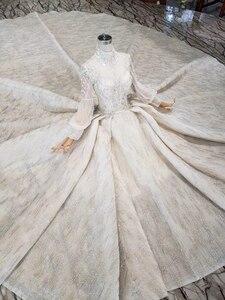 Image 4 - HTL315 高級ウェディングドレス高品質手作りビーズクリスタルブライダルドレスガール高ネック長袖sukienka elegancka