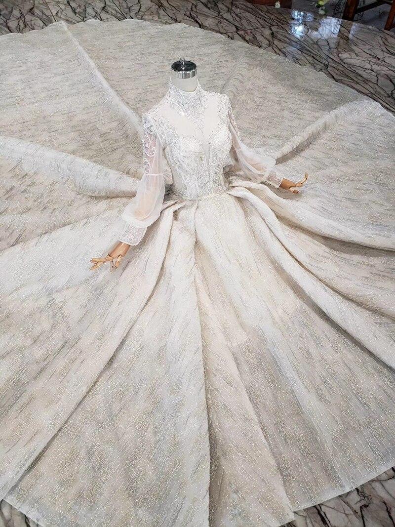 Image 4 - Роскошные свадебные платья HTL315, высокое качество, ручная работа, Украшенные бусинами и кристаллами, платье для девочек с высоким воротом и длинным рукавом, robe de MarieСвадебные платья    АлиЭкспресс