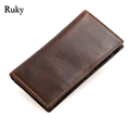 Hot Sale Retro men Genuine leather Wallets Famous brand high quality Soft cow leather Ultra-thin coin bag designer clutch purse