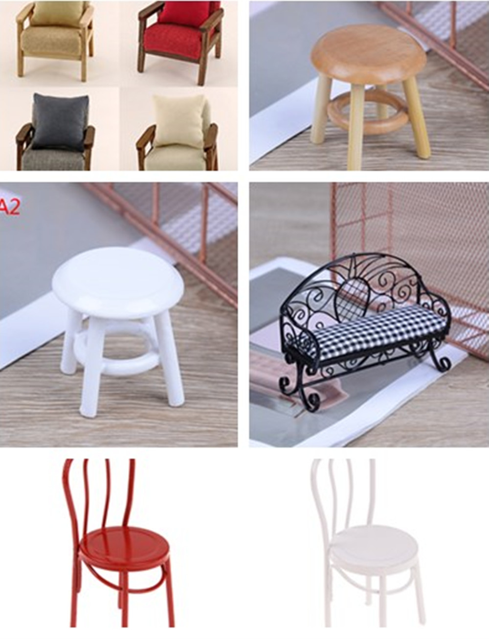 1/12 Scale Furniture Round Floral Stool Chair Multi Style for Dolls House Decor Kids Children Toy Dollhouse Miniature