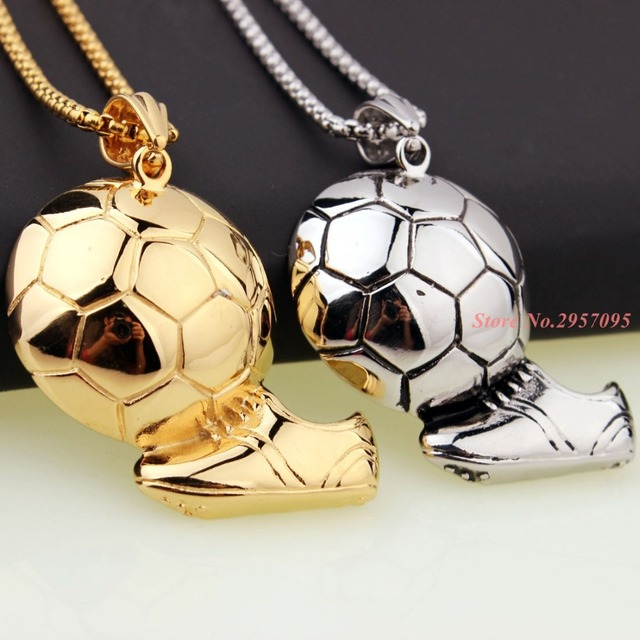 Sporty necklace football pendant with chain stainless steel soccer sporty necklace football pendant with chain stainless steel soccer necklace gold color menwomen sport mozeypictures Image collections