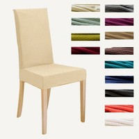 3PC Knitted Stretchy Dining Chair Covers Jacquard Spandex Chair Protect Slipcovers for Banquet Wedding Party