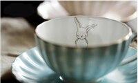 Point rabbit high bone china British black tea cup flower cup cute coffee cup set 1110