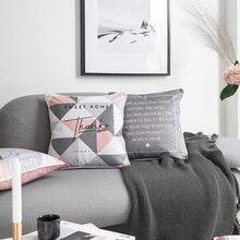 Funda de almohada de terciopelo suave rosa Vintage Estilo nórdico geométrico gris funda de cojín decorativa de hogar 45x45cm