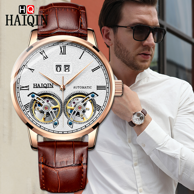 HAIQIN Men s Watches Watch Men 2019 Luxury Waterproof Fashion Sports Automatic Military Luxury Mechanical Watch