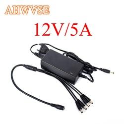 AHWVSE darmowa wysyłka ue i usa przewód zasilania CCTV kabel zasilający i KAMERA TELEWIZJI PRZEMYSŁOWEJ 12 V 5A 3A 1 Split 4 zasilacz dla systemu bezpieczeństwa adapter us camera 12veu us -