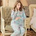 2017 Recién Llegado de Pijama Mujer Ropa de Dormir Niña Dulce Pijamas de Algodón Pijama de Cuello Redondo de manga Larga Conjunto Salón Informal 679
