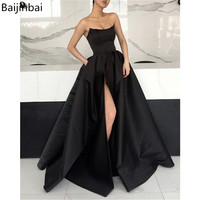 Baijinbai Strapless Corset Prom Dresses Evening Gowns 2019 Side Slit robe de soiree Long Satin Party Formal Dress with Pockets