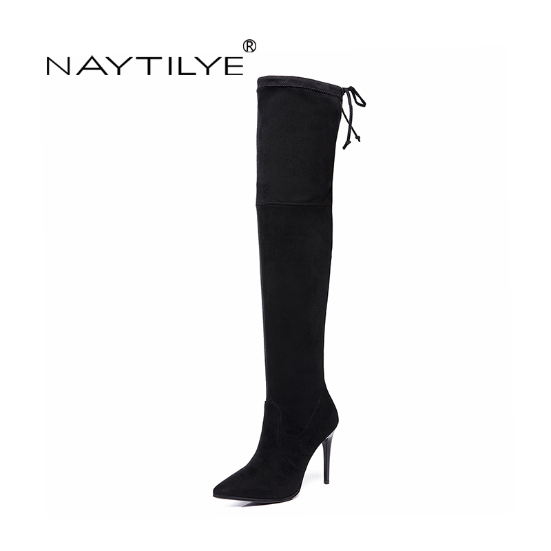 Фотография NAYTILYE New 2018 stretch Fabric Over-the-Knee high boots shoes woman super high heels pointed toe spring black green 35-40 size
