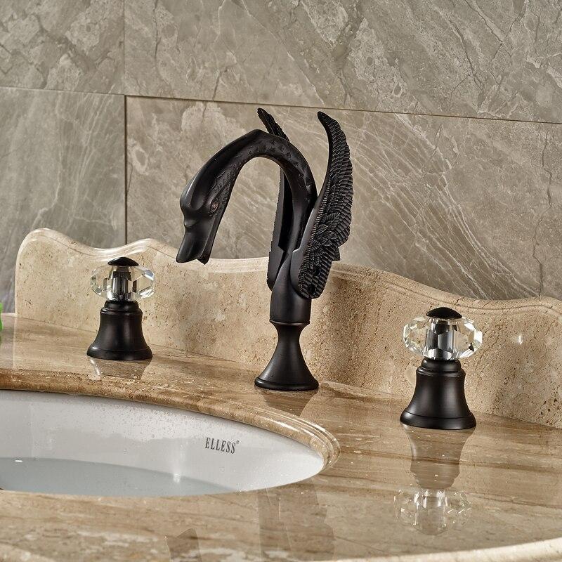 Deck Mounted Bathroom Widespread Basin Sink Faucet Black Washbasin Mixer Taps Swan Shape