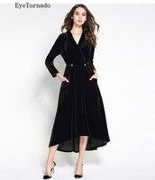 Модное бархатное платье с v образным вырезом и бусинами, с поясом, женское длинное асимметричное Повседневное платье для работы Вечерние и в