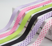 5/8 INCH 16 MM Polka Dot Satin Ribbon Spool Swiss  Printed 100% Polyester Fabric For Handmade Wedding Cake Decor Accessories