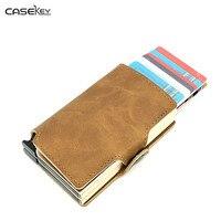 CaseKey Business Men Metal Double Credit Card Holder Travel Organization Money Clip Slim Protection Wallet Aluminum Case Quality