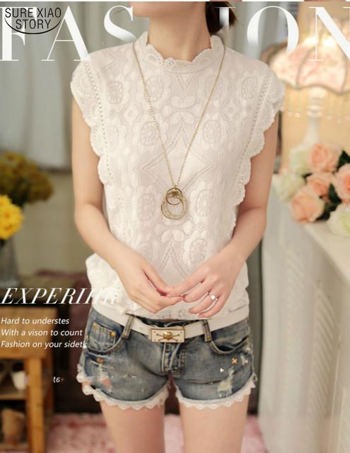Coreano new hot venda 2016 moda verão mulheres tops sem mangas camisa chiffon lace blusa feminino casual solta camisa magro 57F 25