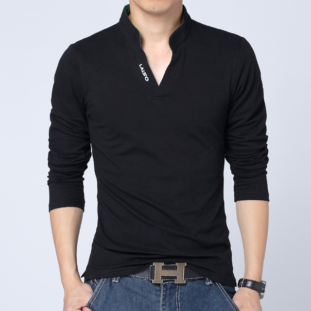 Free shipping 2016 autumn and winter fashion explosion models men's fashion v-neck polo shirt printing