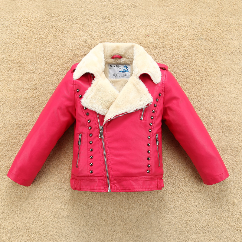 Two Color Rivet Decor Boys Leather Jacket with Fur Collar Fleece Thick for Autumn Winter Girls Motor Coat Bomber color block faux leather panel bomber jacket