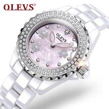 High quality Diamonds Ladies Watches Top Brand Luxury Quartz Waterproof Ceramic Wristwatch Womens Rose Gold Clock