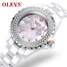 High quality Diamonds Ladies Watches Top Brand Luxury Quartz Waterproof Ceramic Wristwatch Womens Rose Gold Clock Reloj mujeres