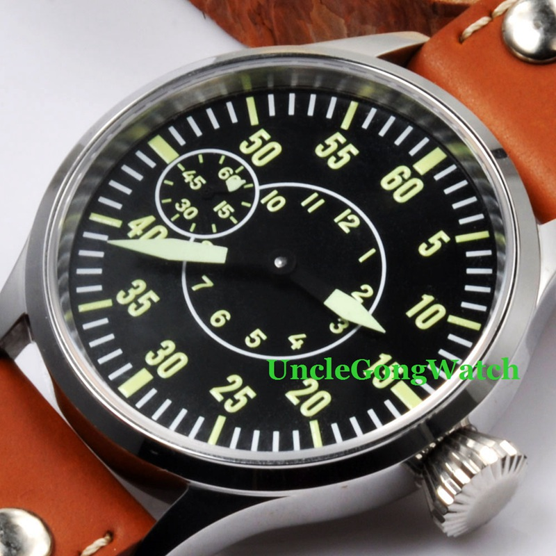 Corgeut 44mm Black Sterile Dial Relojes 6497 Mens Mechanical Hand Winding Watch Green Luminous Marks Armbanduhr CM164BN
