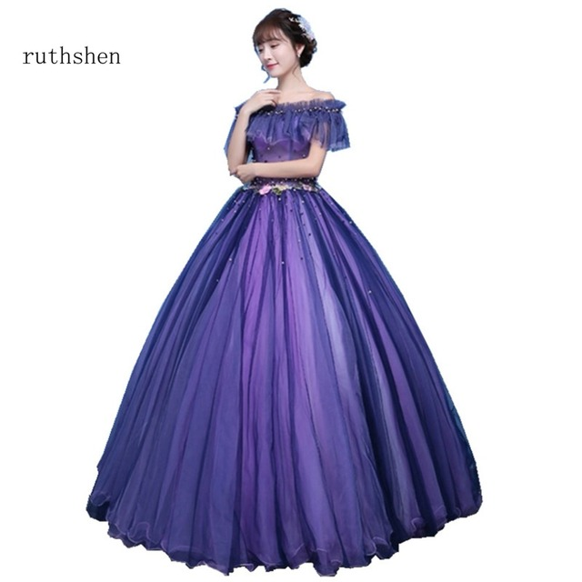 ruthshen Purple Quinceanera Dresses Off The Shoulder Prom Dress Flowers  Beading Sweet 16 Masquerade Ball Gowns Luxury Ball Gown 67f3a51c7790