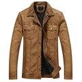 Куртка Мужская Кожаная Куртка мужская Повседневная Твердые Теплая Outerdoor Пальто jaqueta де couro masculina hombre Марка Одежда Мужчины Куртки
